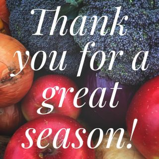 With the last holiday shares delivered, we go fallow for the winter. Thanks to all our shareholders, volunteers, farmers, staff, and community partners for a wonderful season!