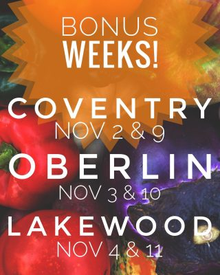 Bonus weeks are coming up! Bonus weeks take place after our regular season ends on October 28th. The veggies just keep comin', but only to Coventry, Oberlin, and Lakewood the following dates and times:   Tuesday, November 2nd & 9th, 5-7 PM 1925 Coventry Road, Cleveland Heights   Wednesday, November 3rd & 10th, 5-7 PM Oberlin - location TBD  Thursday, November 4th & 11th, 5-7 PM 15425 Detroit Road, Lakewood  Order at cityfresh.org 🍓  #cityfresh #csa #eatlocal #shoplocal