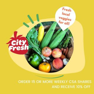 Join us this season! The City Fresh CSA Day sale continues. Get all the freshest, most local veggies and help save the world, one veggie at a time. Visit cityfresh.org to find out more.
